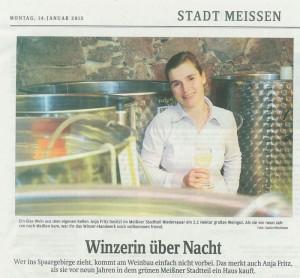 Artikel Sächsische Zeitung Stadt Meißen 14.1.2013