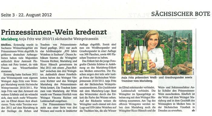 Artikel Sächsischer Bote 22.8.2012